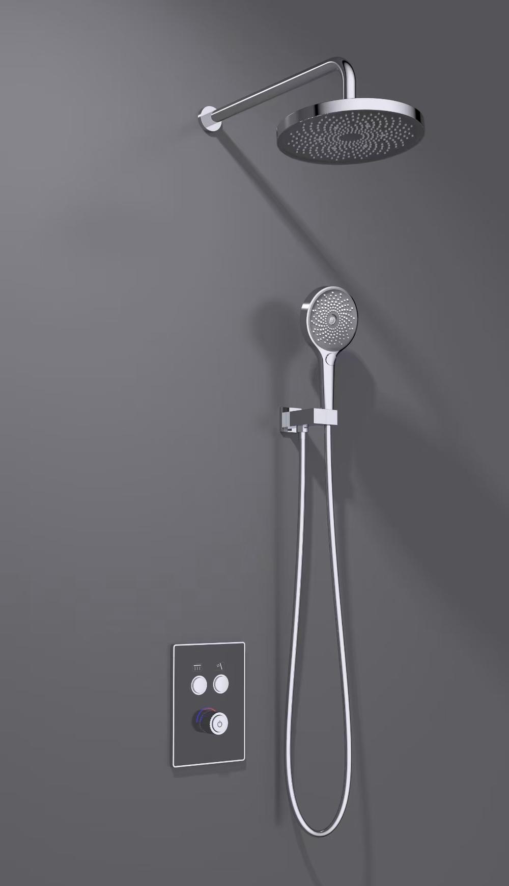 CBM Bathroom digital display  dark faucet concealed shower faucet luxury wall-mounted shower valve set bathroom shower set black white colors