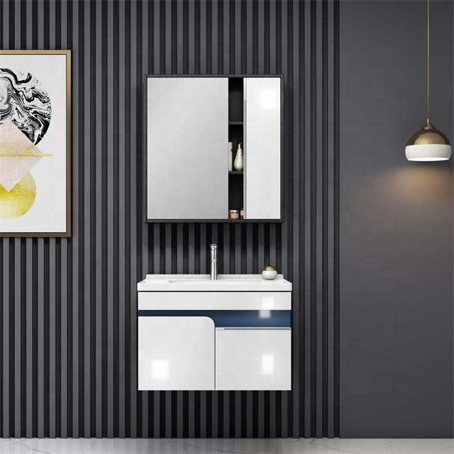 CBM Bathroom equipment plywood wall hung vanity bathroom cabinet