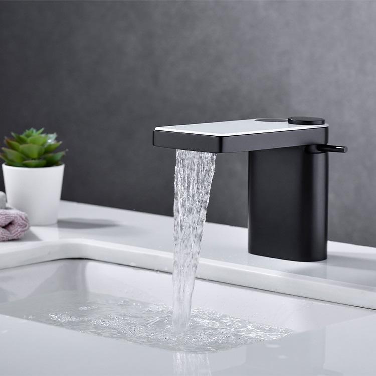 CBM fashion style waterfall bathroom faucet matte black white glass basin waterfall faucet mixer basin faucet