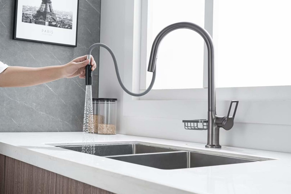 CBM kitchen faucet pull out kitchen water tap cancealed pull out design gun grey color brass body mixer tap0205